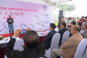 Leaders of the Central Institute for Natural Resources and Environmental Studies participated in the Japanese Cherry Tree (Sakura) Plantation Ceremony in Hoa Binh Park, Hanoi sponsored by AEON Environmental Foundation
